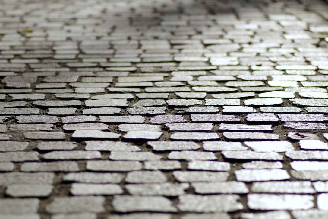 Cobblestone road close-up