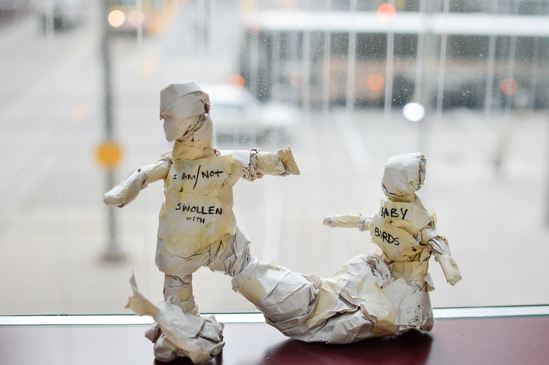 """Two paper figures in front of a blurred street, one taller with chest bearing the text """"I AM/NOT SWOLLEN WITH"""" one smaller with text """"BABY BIRDS."""""""