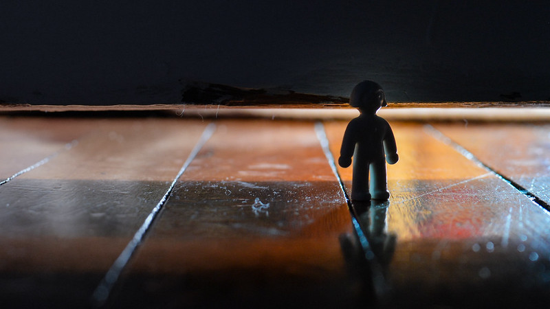 Standing figurine on a wood floor, with blurred reflection